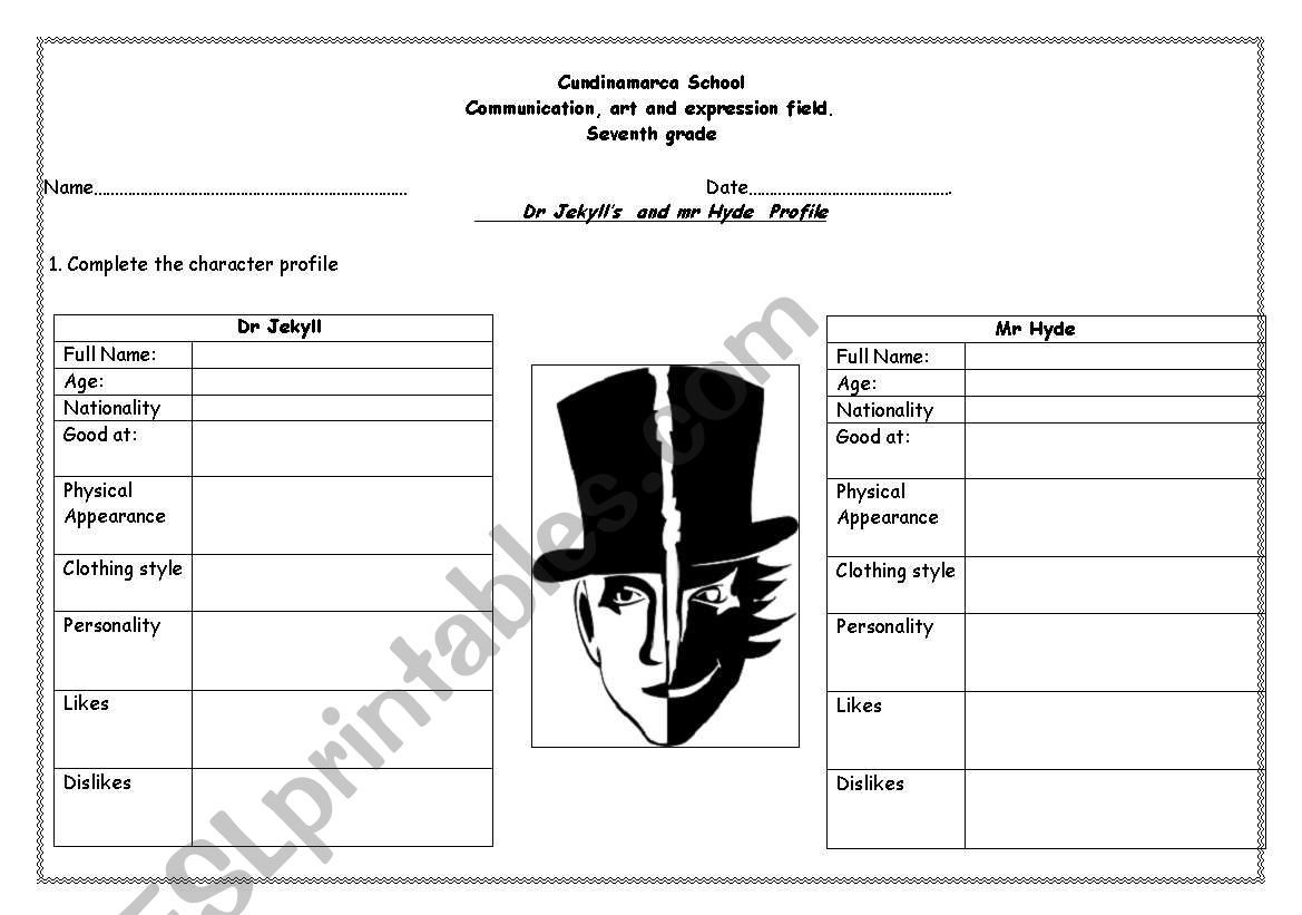 Dr Jekyll's And Mr Hyde - Esl Worksheetrosangie | Dr Jekyll And Mr Hyde Printable Worksheets