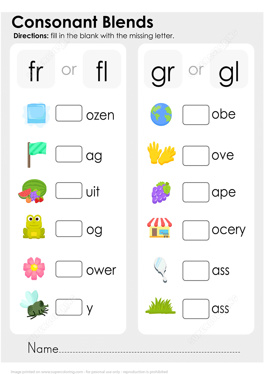 √ Blends Coloring Worksheets | Free Printable Blend And Digraph | Free Printable Consonant Blends Worksheets
