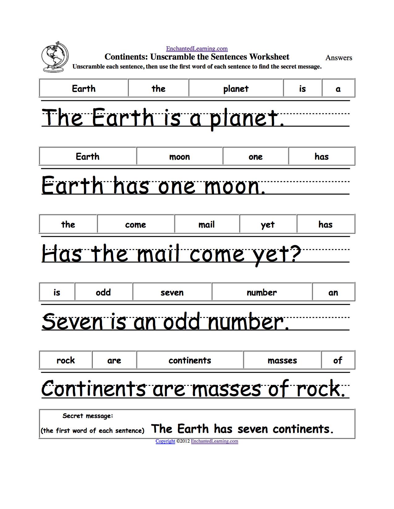 Earth Day Crafts Enchantedlearning. | Grade 1 - Free Printable | Free Printable Scrambled Sentences Worksheets