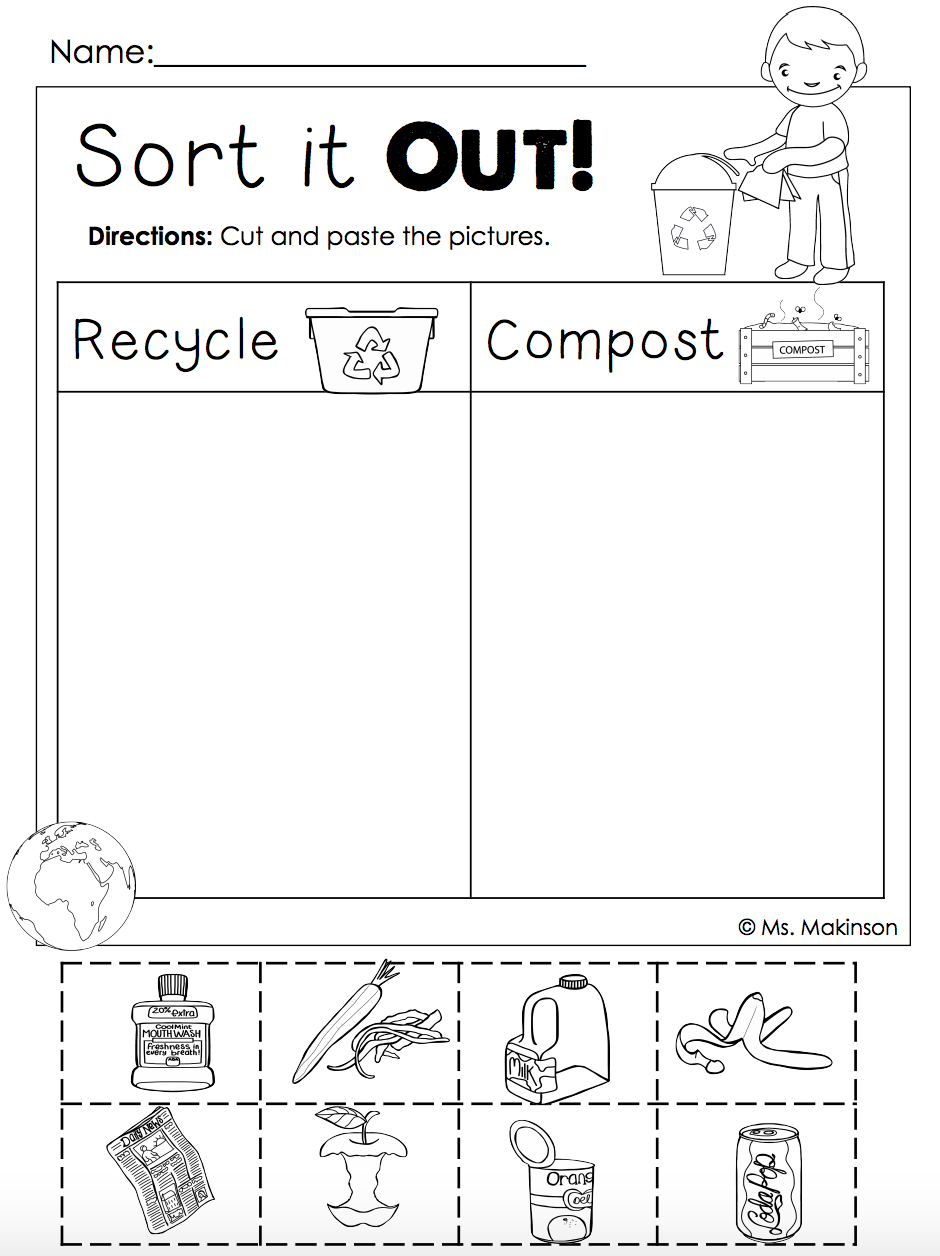 Earth Day Free | Homeschool. | Earth Day, Earth Day Activities | Free Printable Recycling Worksheets