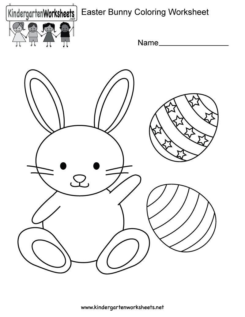 Easter Bunny Coloring Worksheet - Free Kindergarten Holiday | Free Printable Easter Worksheets For Preschoolers