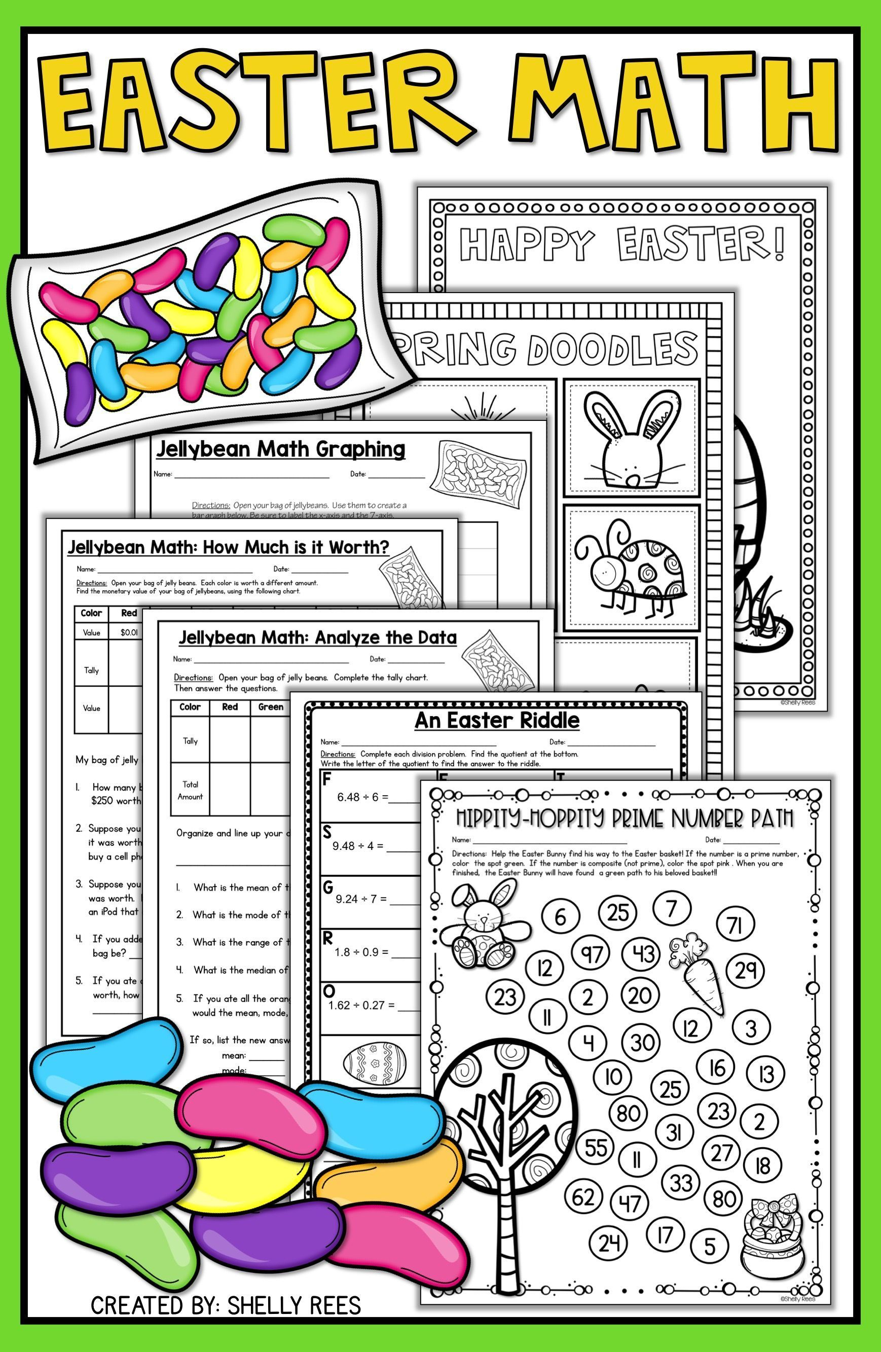 Easter Math Worksheets - Jellybean Math - Easter Activities | Big | Free Printable Easter Worksheets For 3Rd Grade