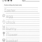 Easter Writing Worksheet   Free Kindergarten Holiday Worksheet For Kids | Printable Writing Worksheets