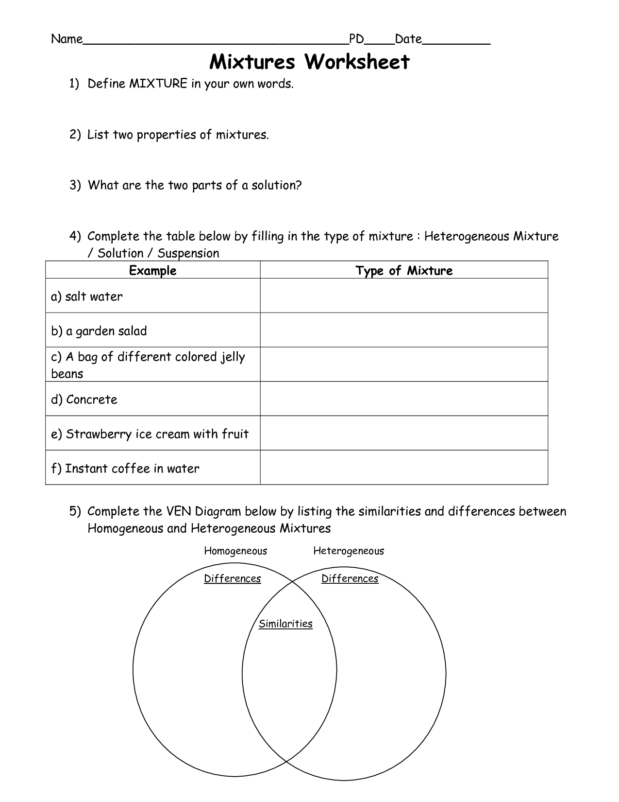 Elements Of Art Worksheets | Scope Of Work Template | Art Handout | Free Printable Worksheets On Mixtures And Solutions