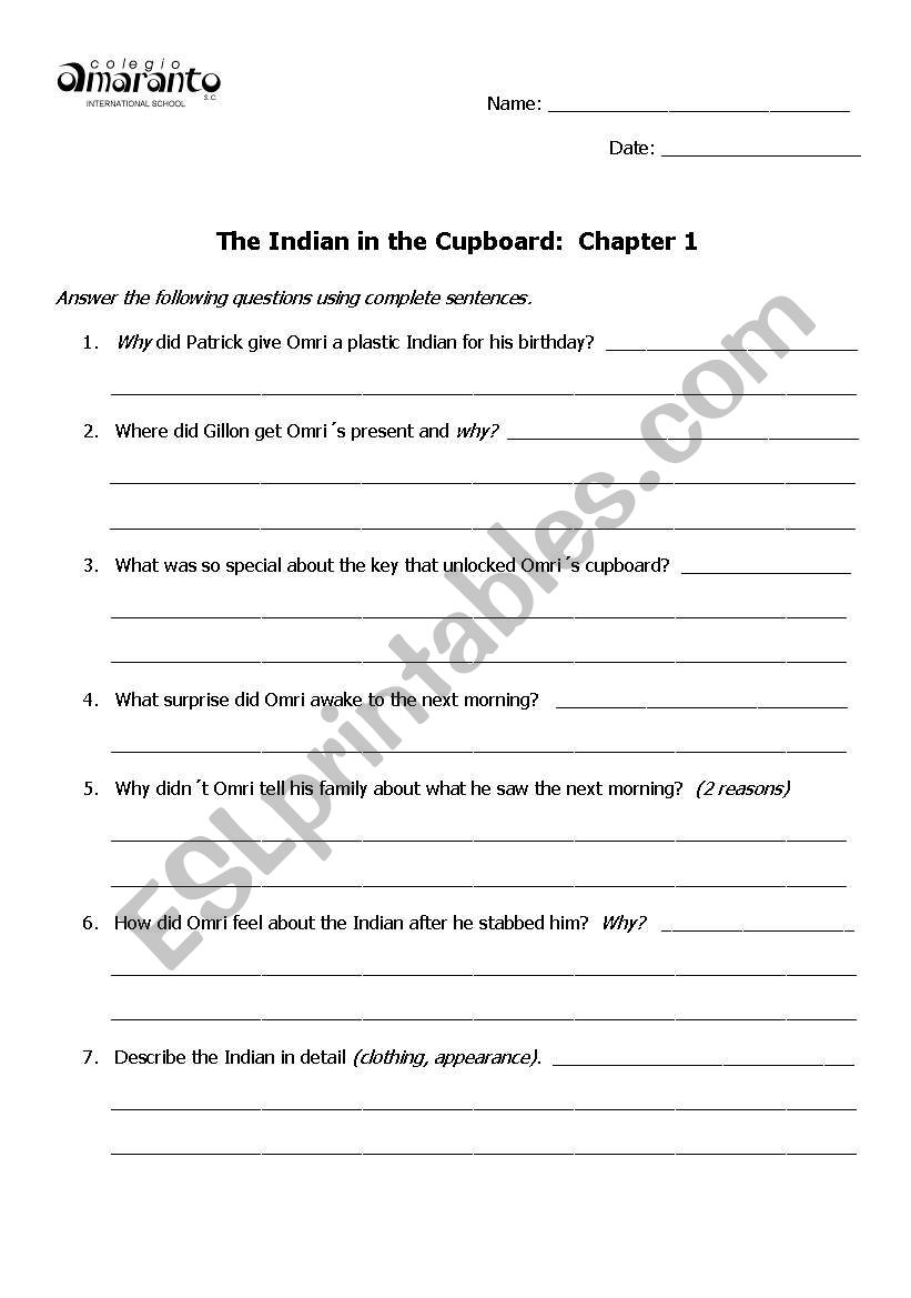 English Worksheets: The Indian In The Cupboard Comprehension Questions | Indian In The Cupboard Free Printable Worksheets