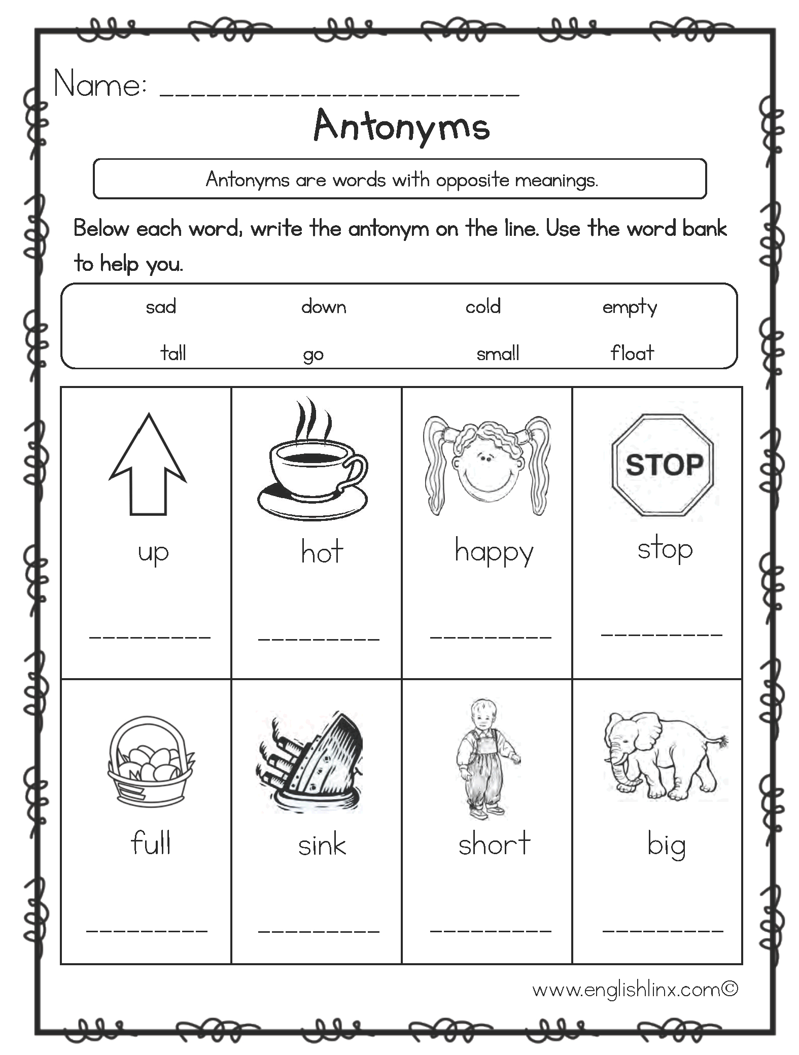 Englishlinx | Antonyms Worksheets | Antonyms Printable Worksheets