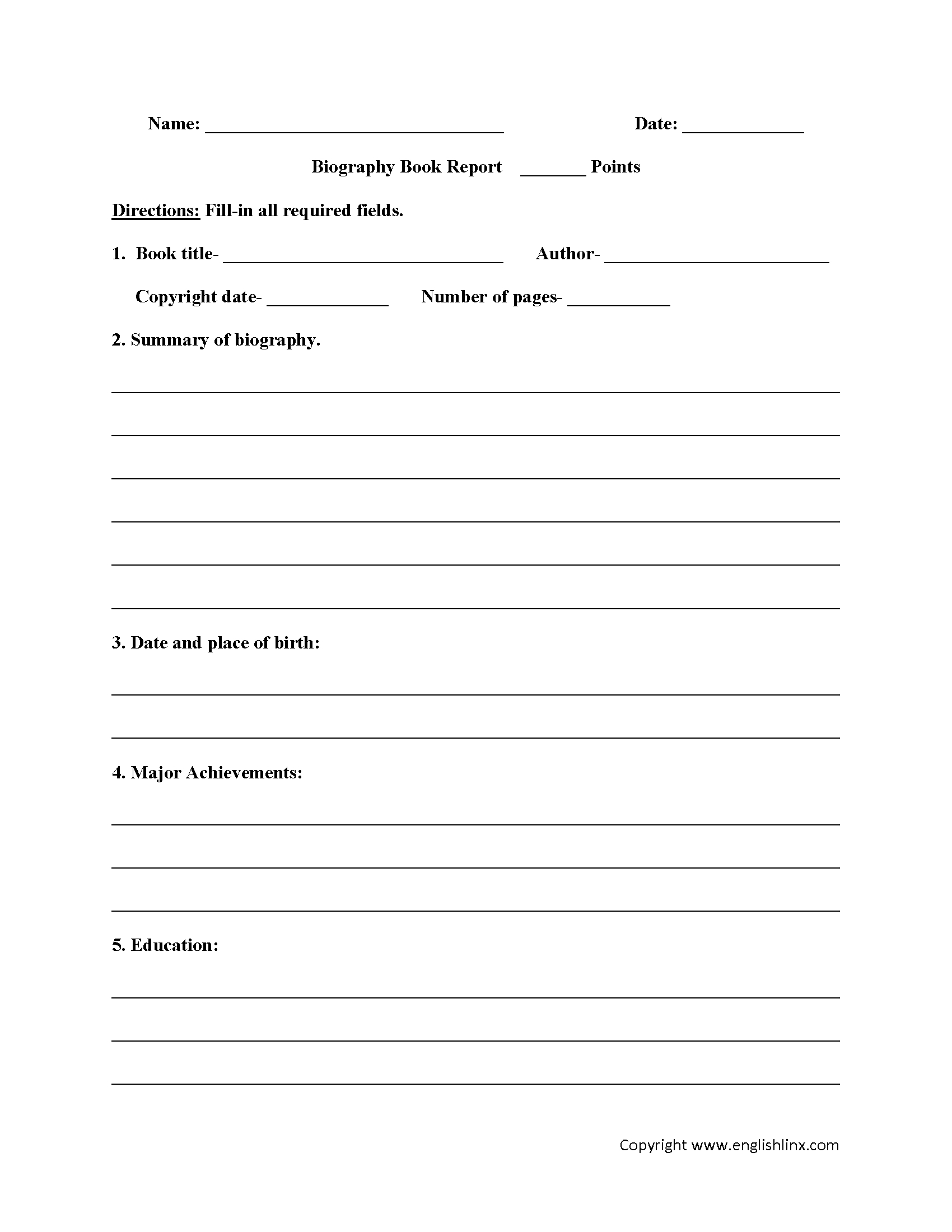 Englishlinx | Book Report Worksheets | Book Report Printable Worksheets
