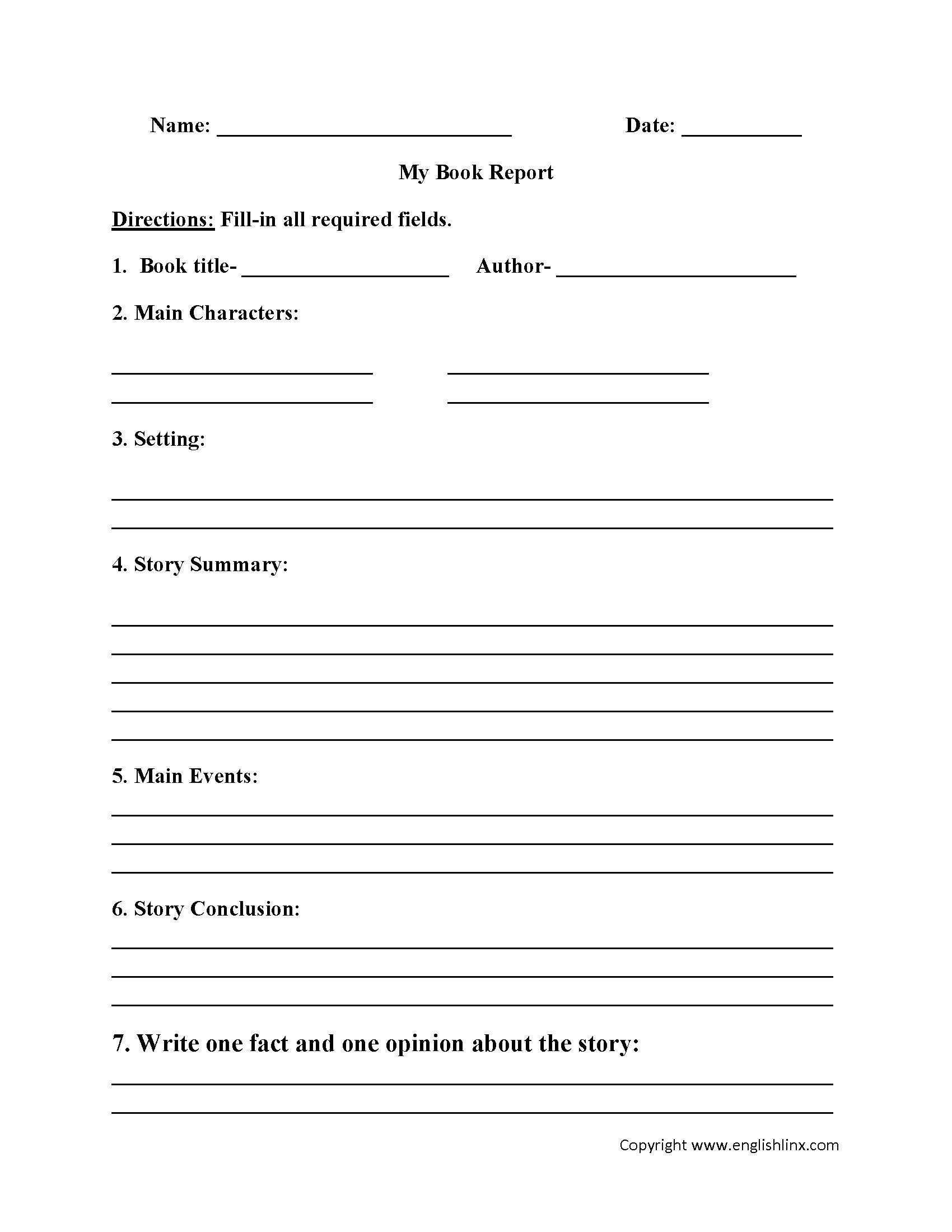 Englishlinx | Book Report Worksheets | Printable Book Report Worksheets