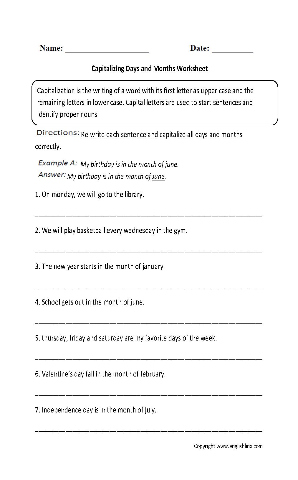 Englishlinx   Capitalization Worksheets   Free Printable Worksheets For Punctuation And Capitalization