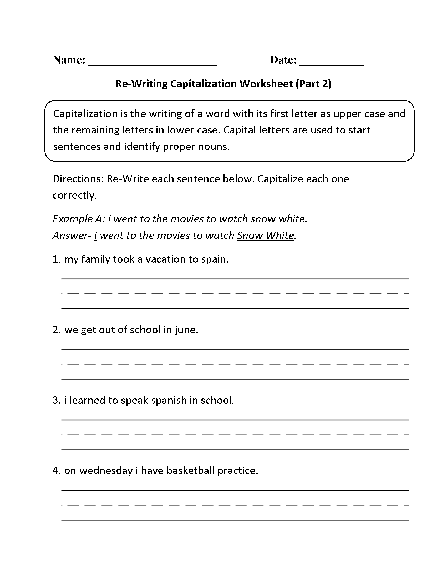 Englishlinx | Capitalization Worksheets - Free Printable Worksheets | Free Printable Worksheets For Punctuation And Capitalization