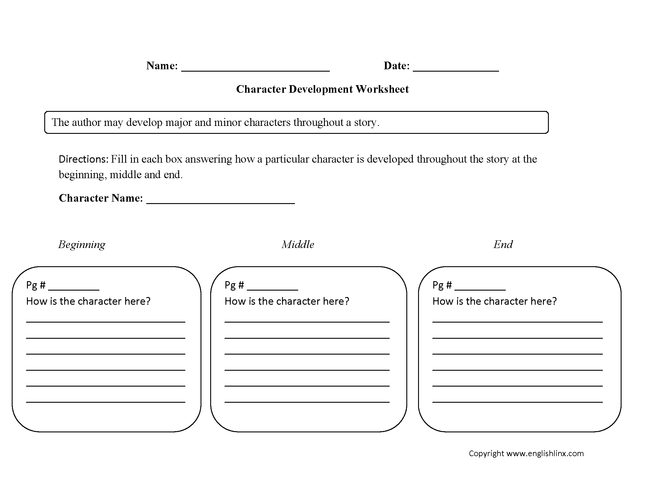Englishlinx | Character Analysis Worksheets | Character Development Worksheet Printable