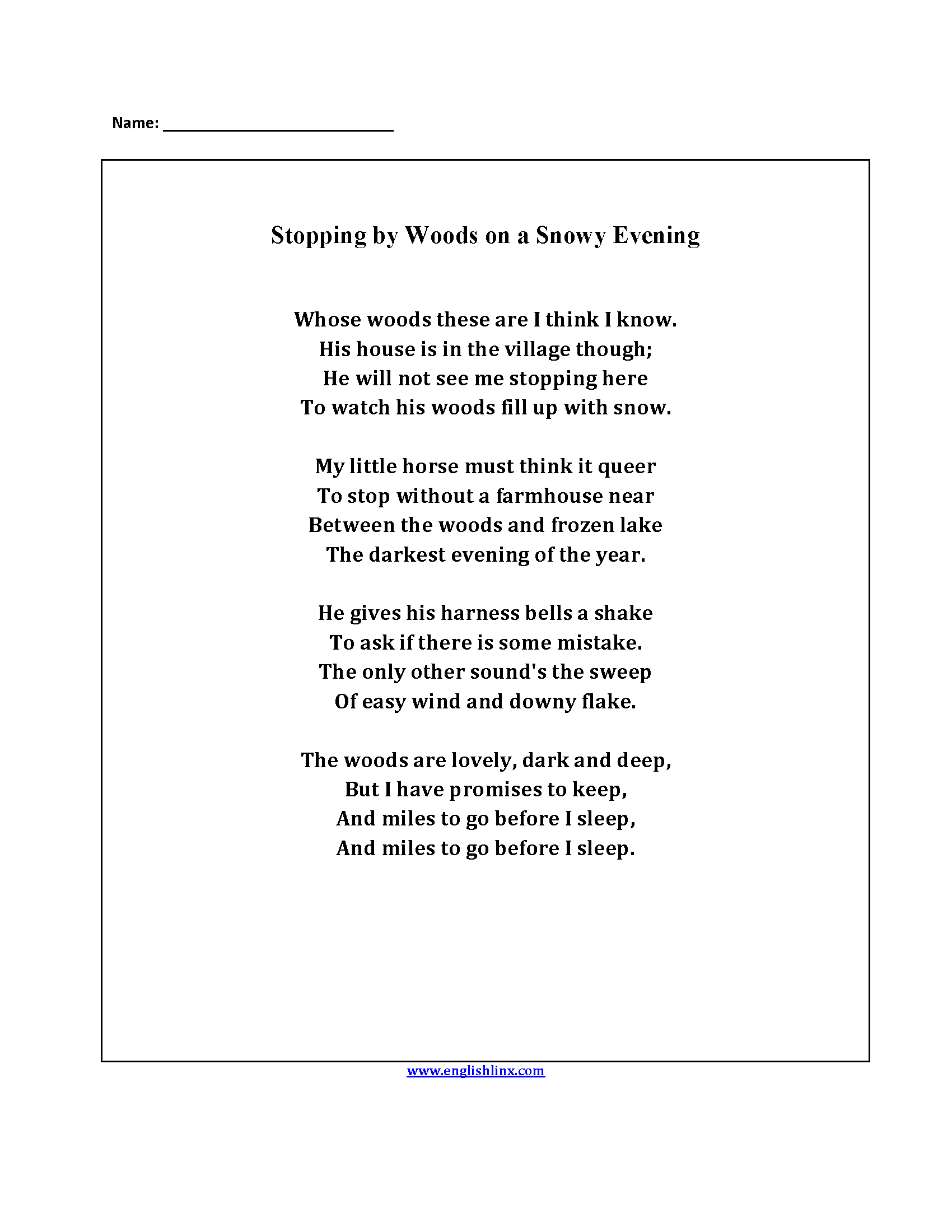Englishlinx | Poetry Worksheets | Poetry Worksheets Printable