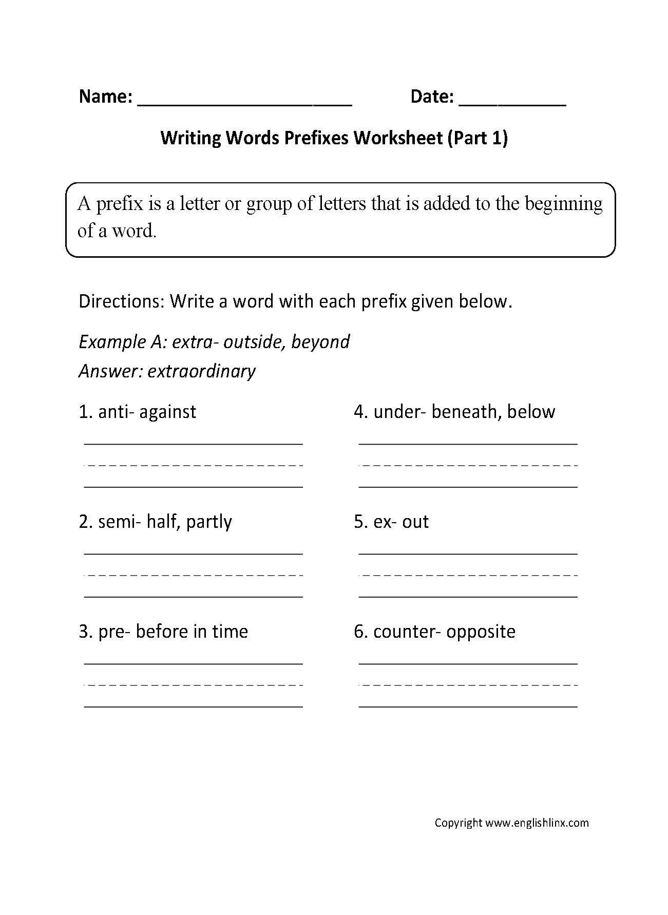 Englishlinx | Prefixes Worksheets | 10Th Grade Language Arts Printable Worksheets