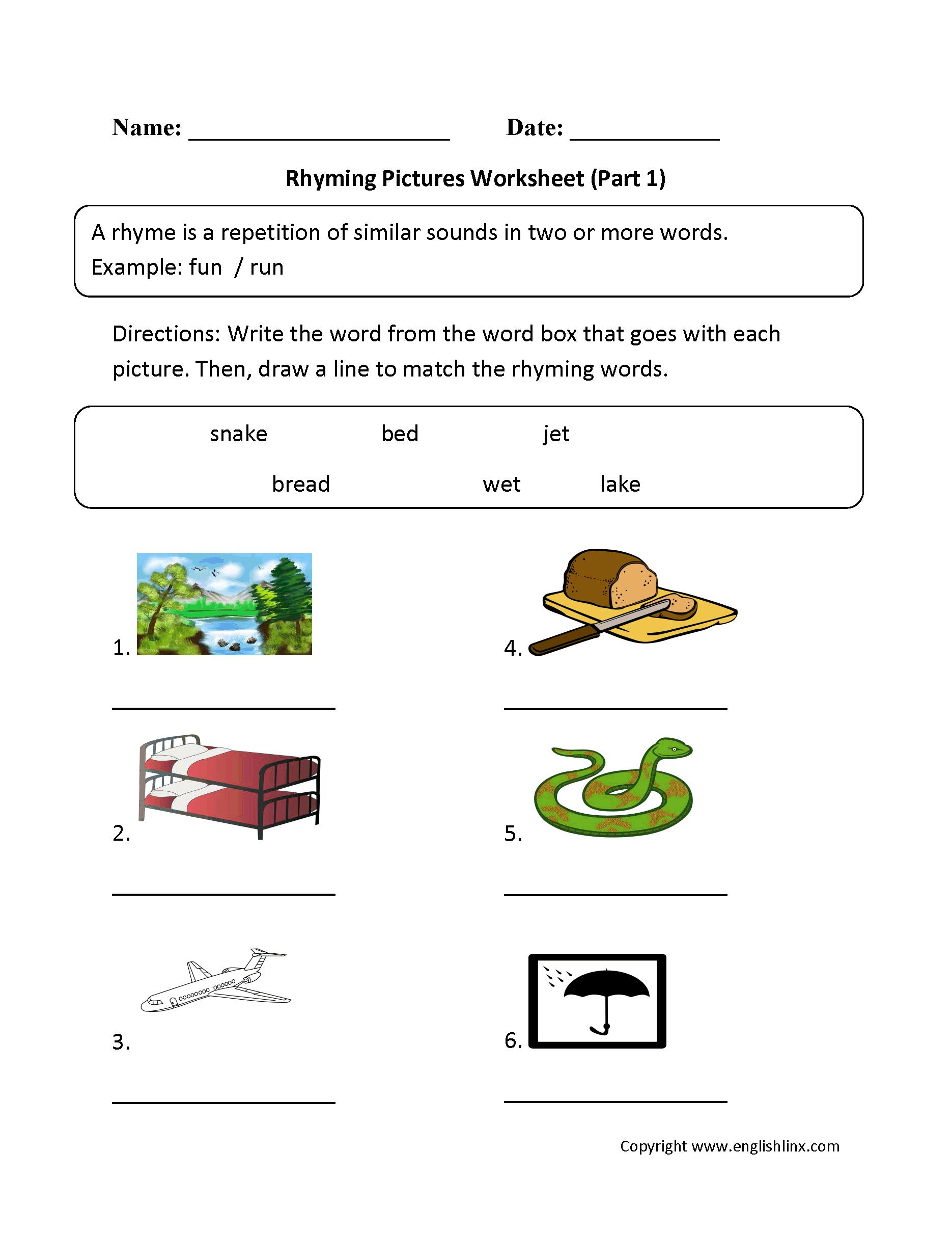 Englishlinx | Rhyming Worksheets | Free Printable Rhyming Words Worksheets