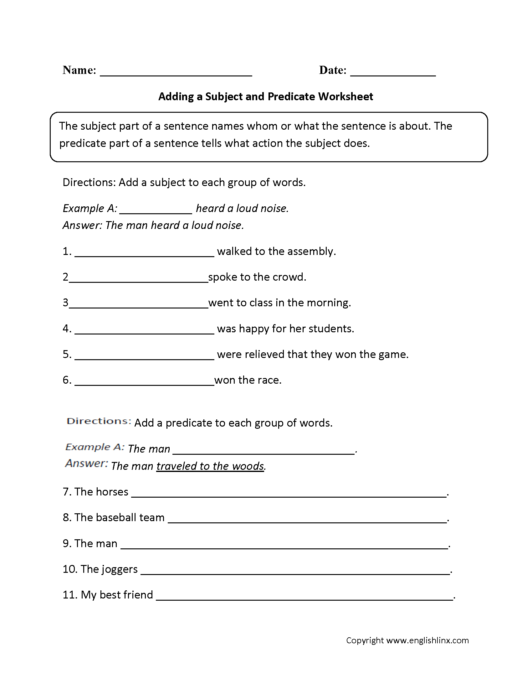 Englishlinx | Subject And Predicate Worksheets - 9Th Grade English | Year 9 English Worksheets Printable