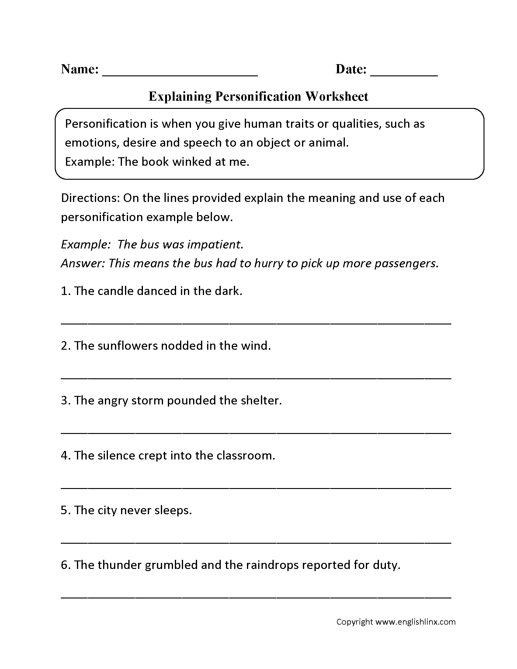 Explaining Personification Worksheet | 3Rd Grade | Figurative | Language Worksheets For 3Rd Grade Printable