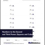 Exponents Worksheets For Numbers To The Second And Third Power | Free Printable Exponent Worksheets