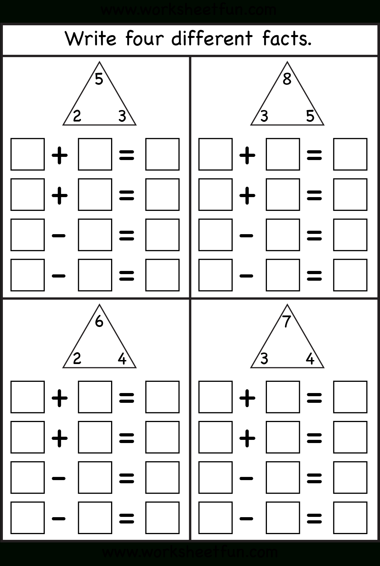 Fact Family - 4 Worksheets | Printable Worksheets | Math Worksheets | Rainbow Facts Worksheets Printable