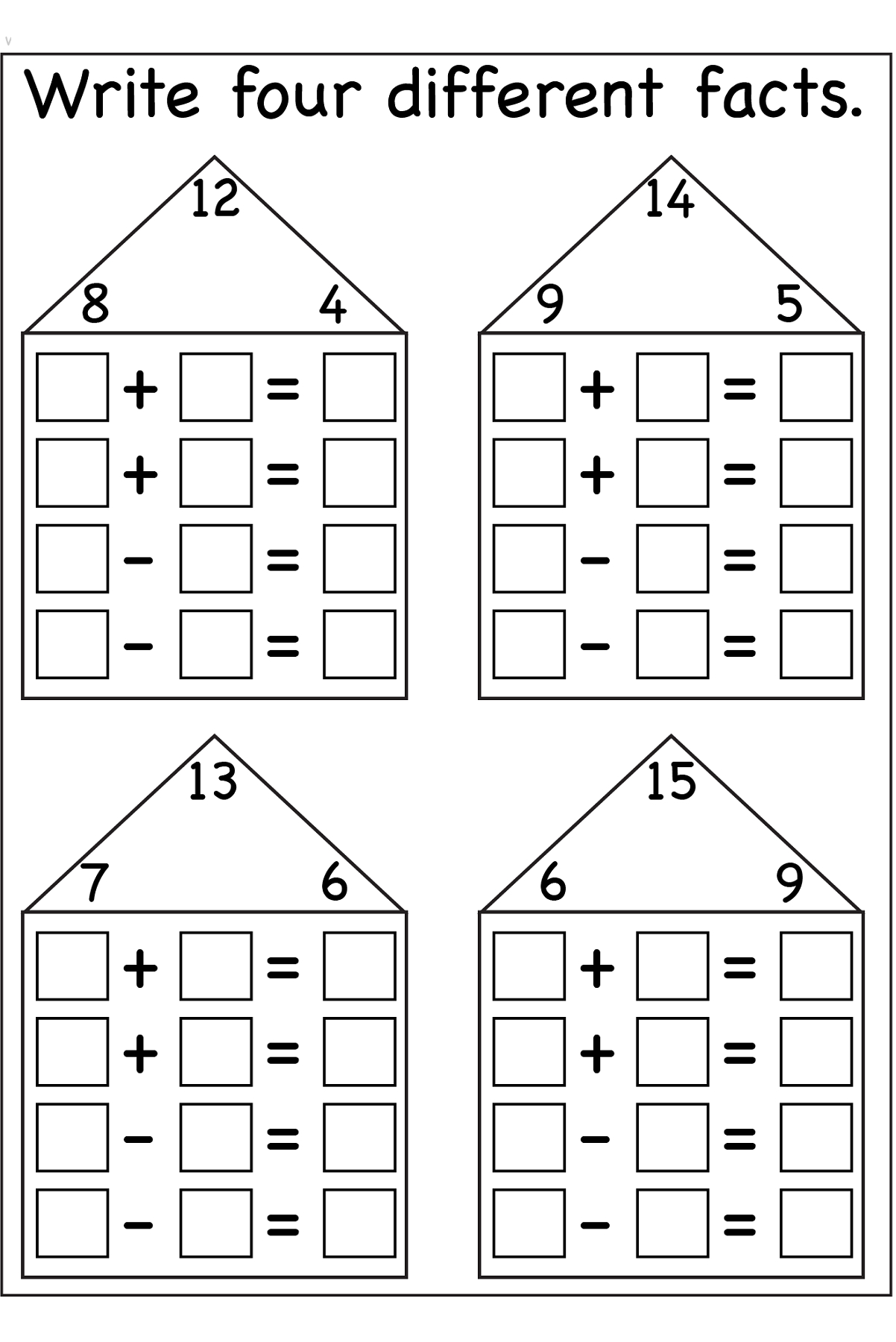 Fact Family Worksheets Printable | Math Centers And Activities | Family Printable Worksheets