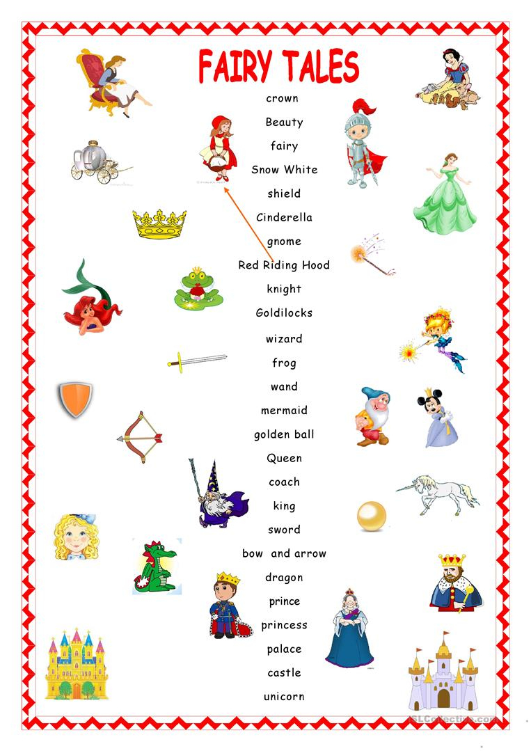 Fairy Tales.matching. Worksheet - Free Esl Printable Worksheets Made | Fairy Tale Printable Worksheets