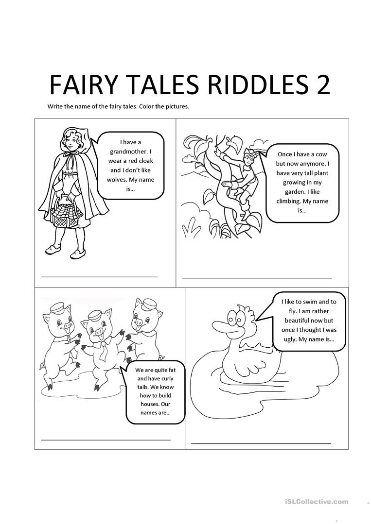 Fairy Tales Riddles 2 Worksheet - Free Esl Printable Worksheets Made | Fairy Tale Printable Worksheets