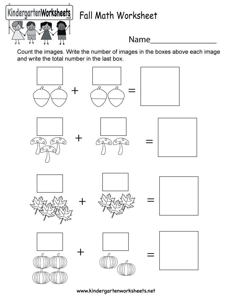 Fall Math Worksheet - Free Kindergarten Seasonal Worksheet For Kids | Free Printable Fall Math Worksheets