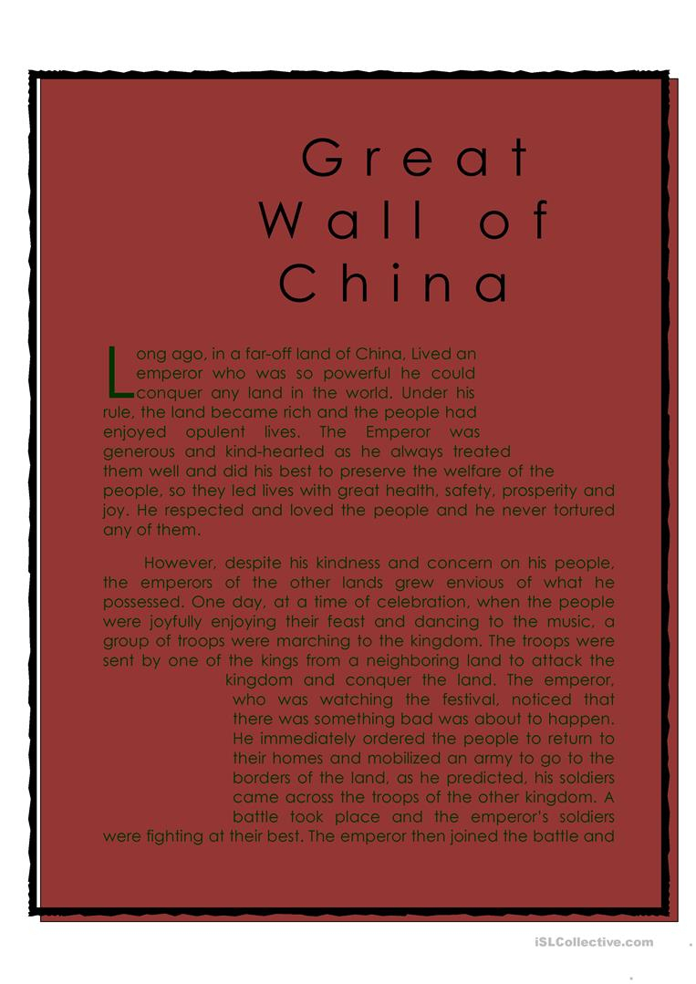 Famous Landmark (Great Wall Of China) Worksheet - Free Esl Printable | Great Wall Of China Printable Worksheet