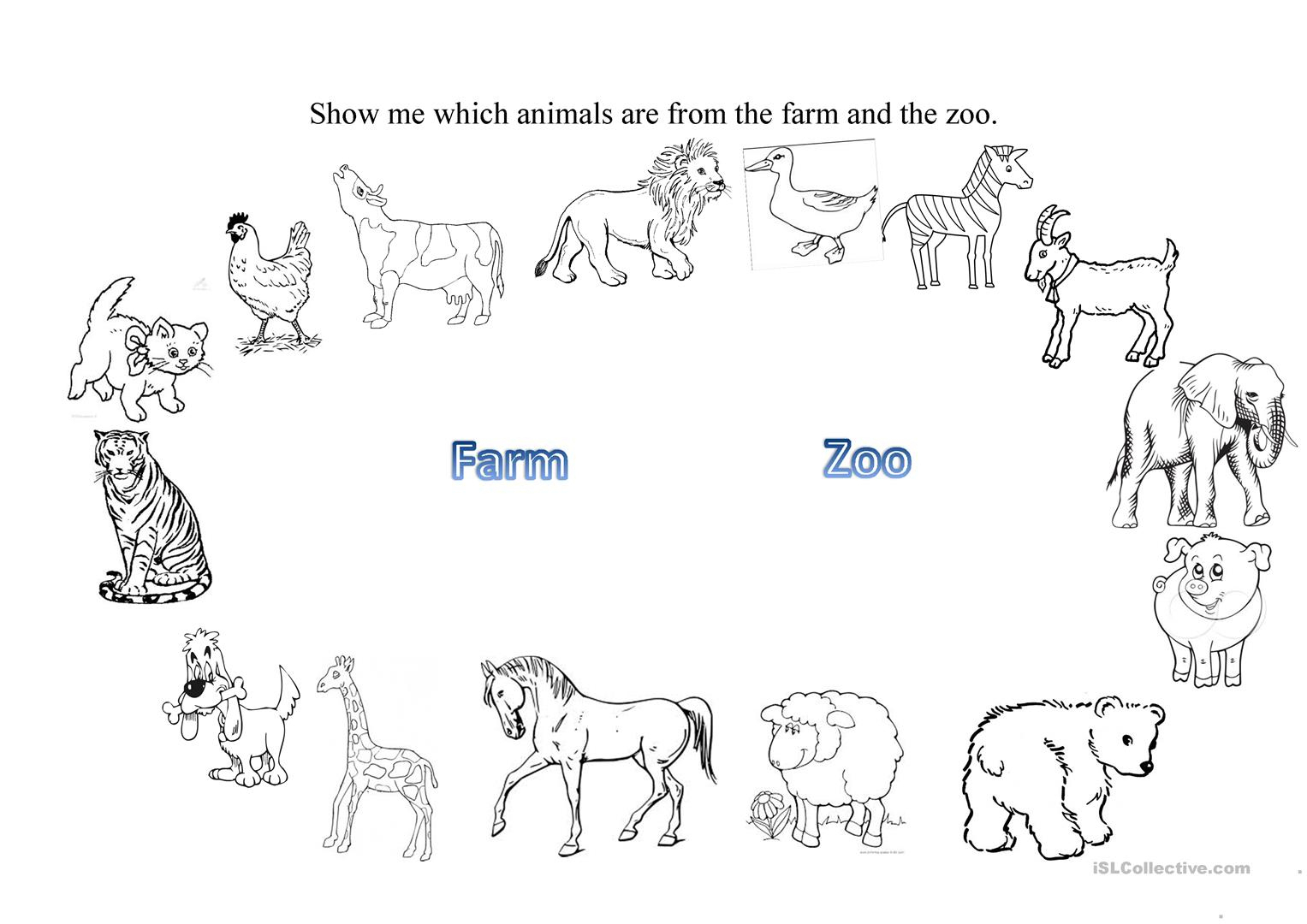 Farm And Zoo Animals Worksheet - Free Esl Printable Worksheets Made | Free Printable Zoo Worksheets