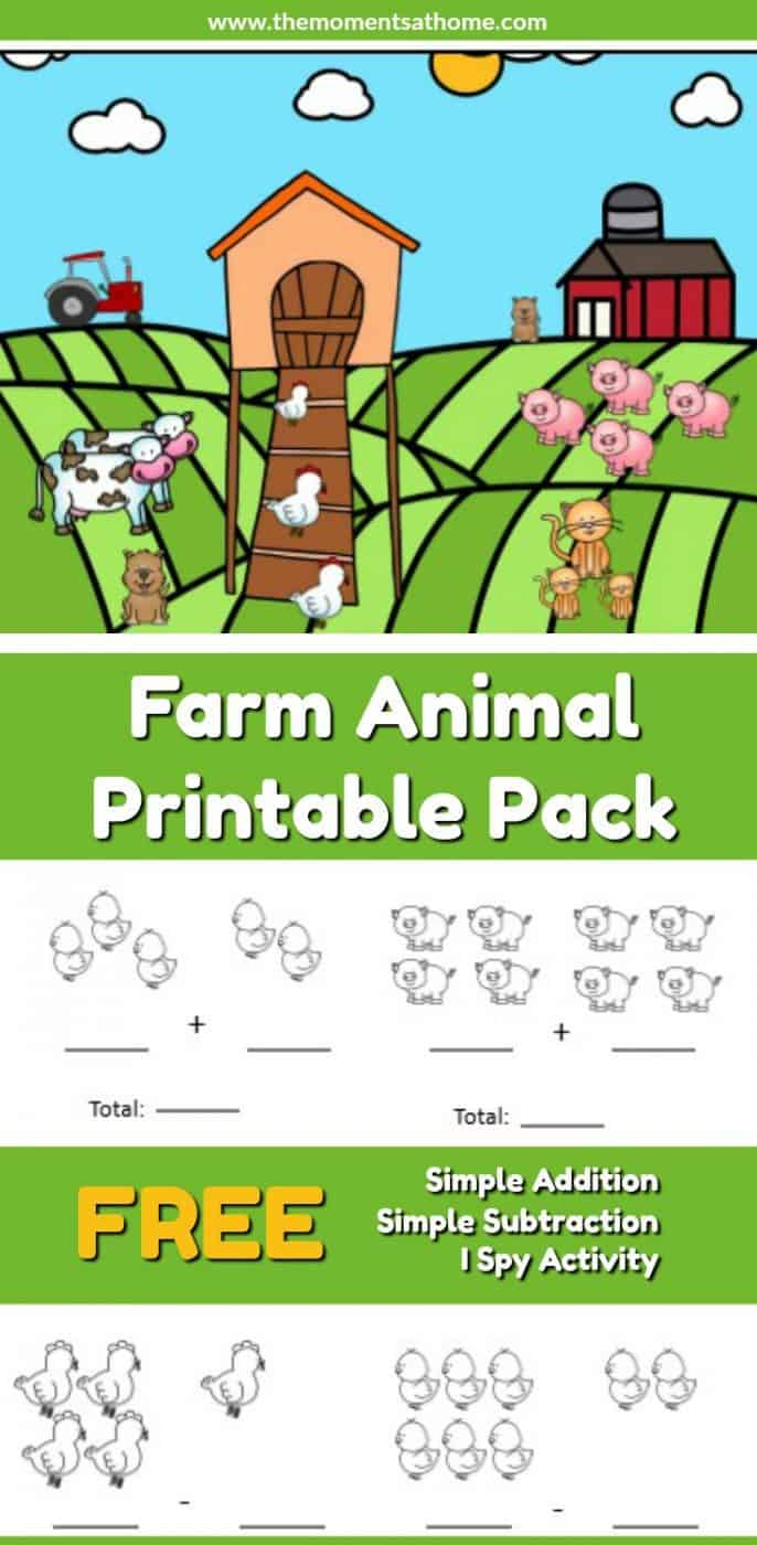 Farm Animal Addition And Subtraction Worksheets - The Moments At Home | Farm Animals Printable Worksheets