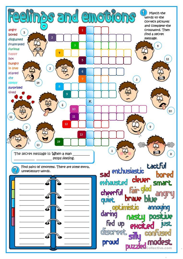 Feeling And Emotions Worksheet - Free Esl Printable Worksheets Made | Feelings And Emotions Worksheets Printable
