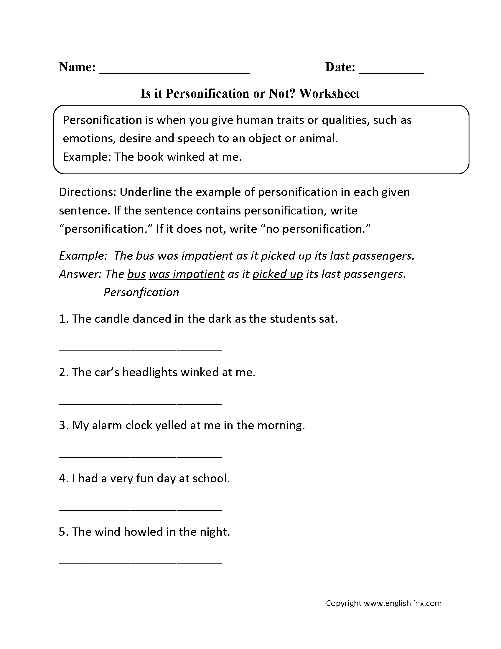 Figurative Language Worksheets | Personification Worksheets | Printable Personification Worksheets