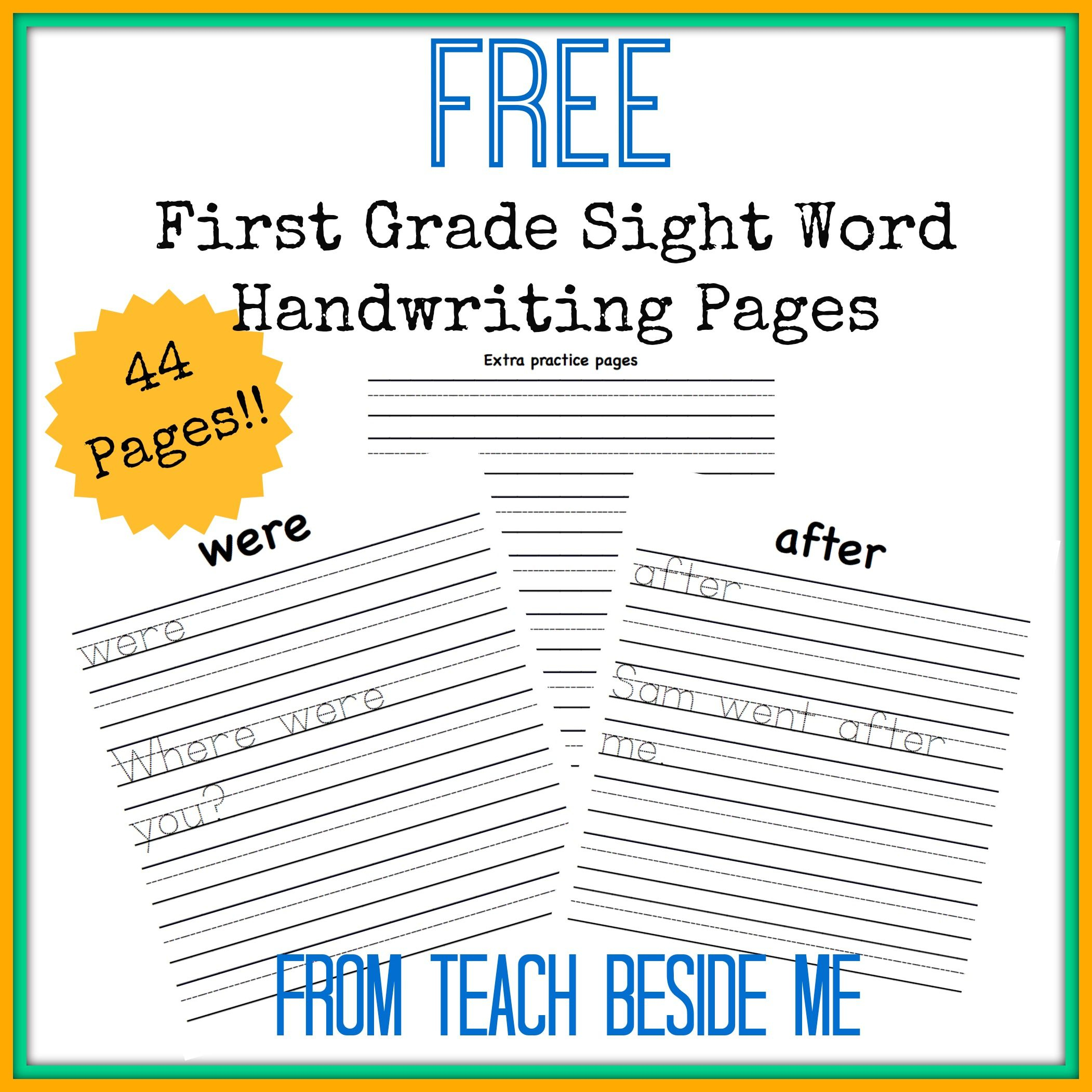 First Grade Dolch Sight Word Handwriting Pages | Ultimate Homeschool | 1St Grade Sight Words Printables Worksheets