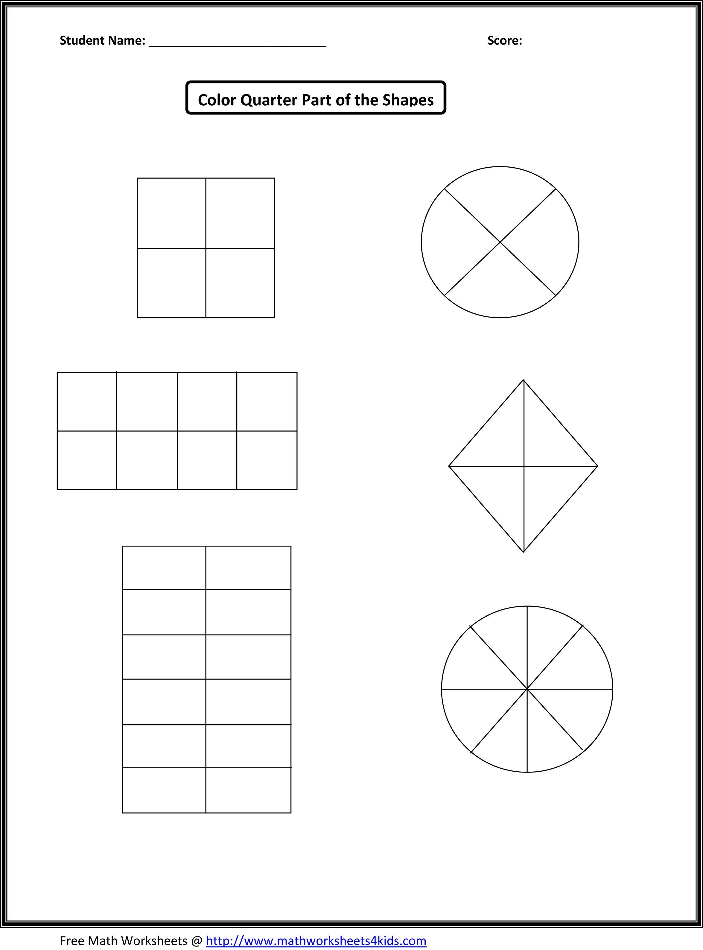 First Grade Fraction Worksheets For Download Free - Math Worksheet | Free Printable First Grade Fraction Worksheets