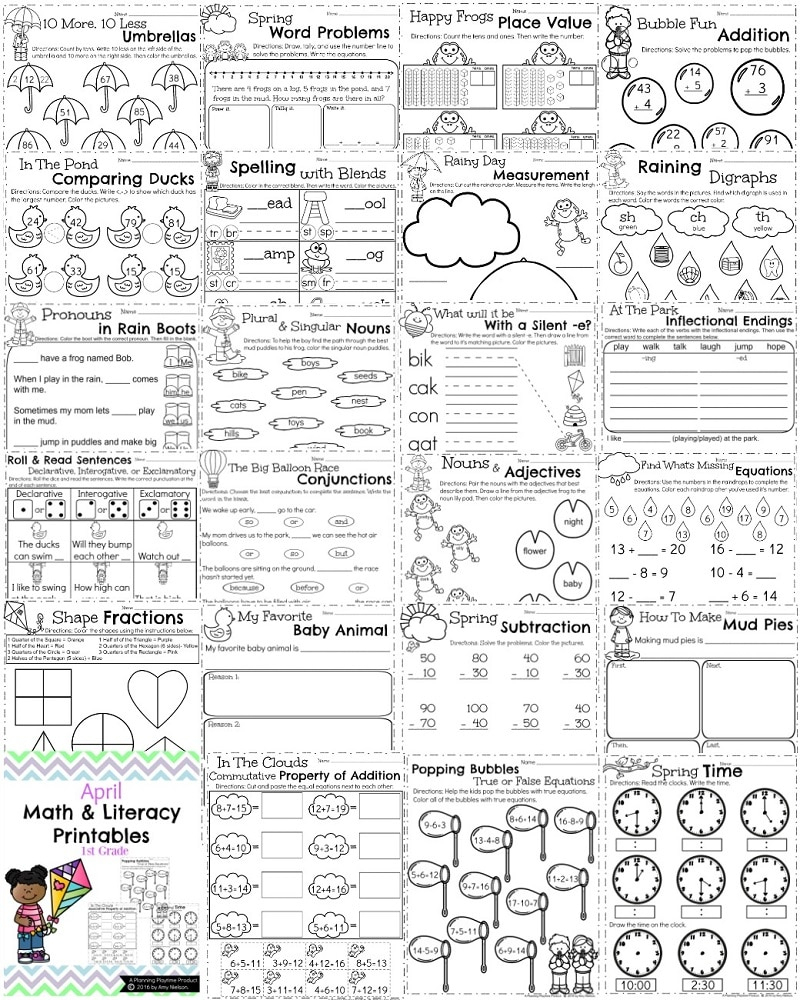 First Grade Worksheets For Spring - Planning Playtime | First Grade Printable Worksheets