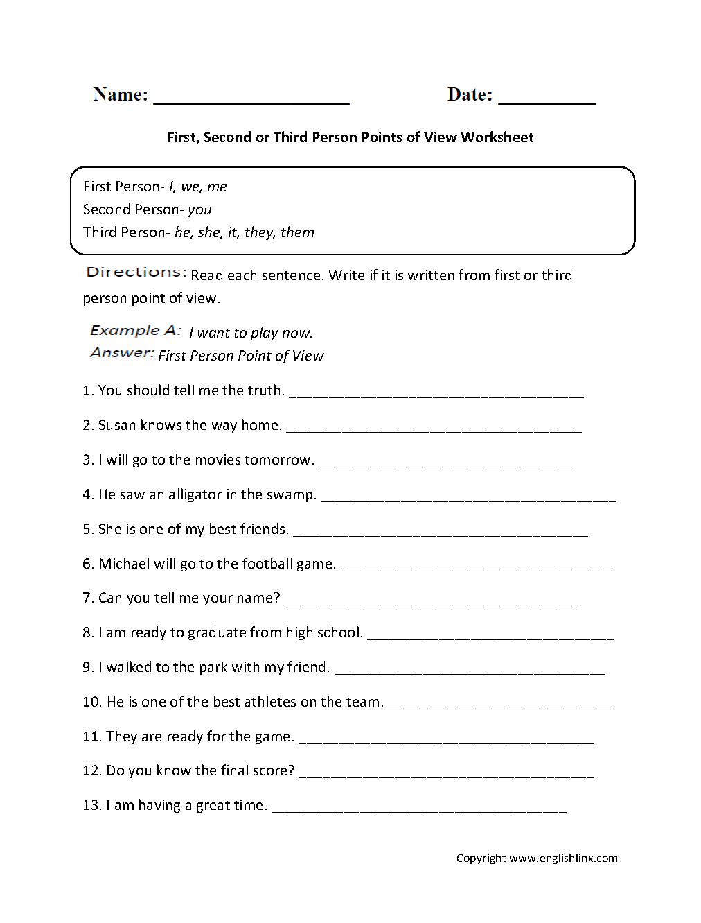 First, Second Or Third Person Points Of View Worksheet | Great | Language Worksheets For 3Rd Grade Printable