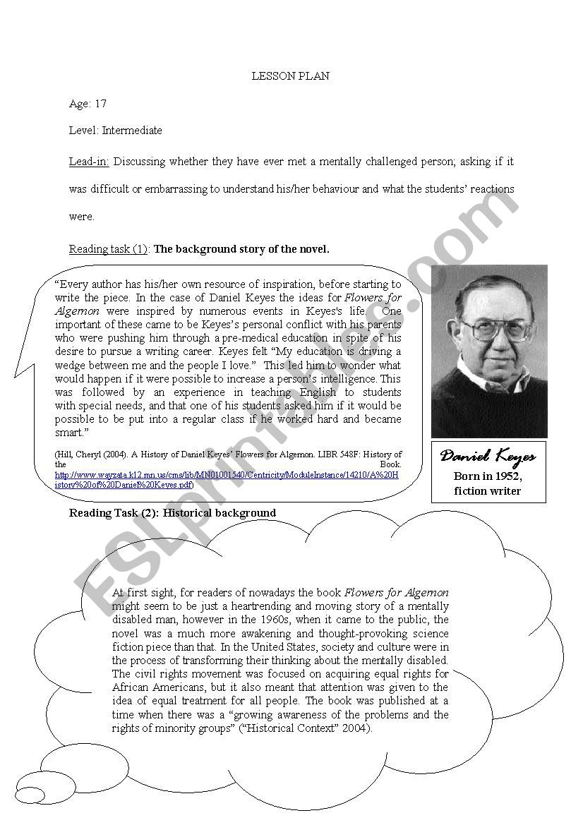 Flowers For Algernon Activity Sheet - Esl Worksheetgreti.ercsey | Flowers For Algernon Printable Worksheets