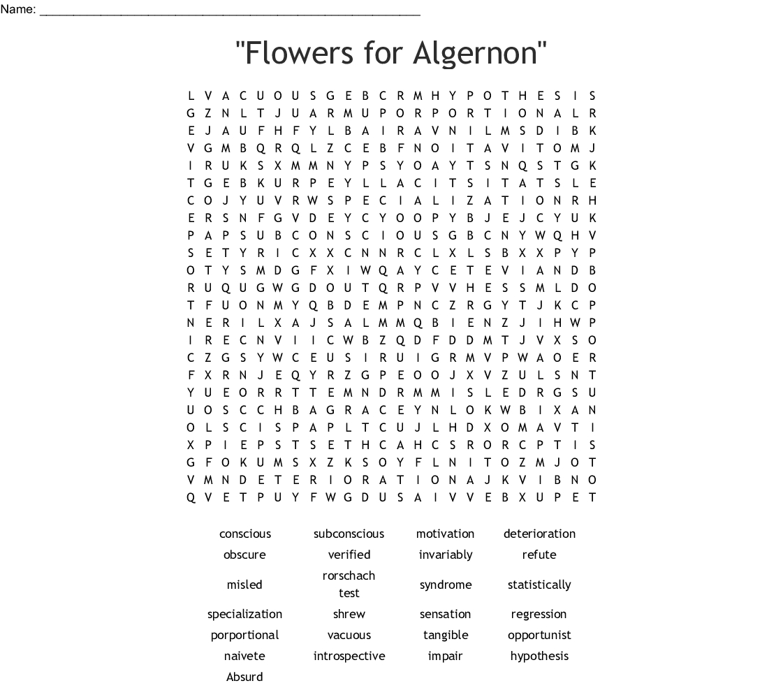 "Flowers For Algernon"" Word Search - Wordmint | Flowers For Algernon Printable Worksheets"