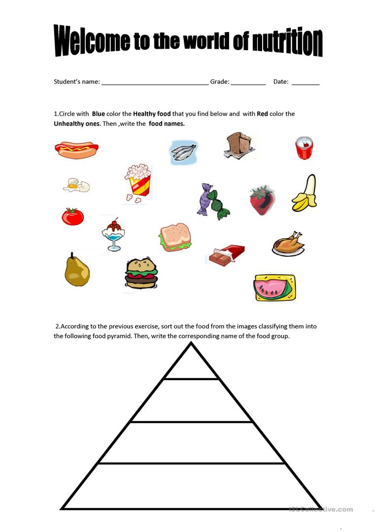 Food Pyramid - Healthy And Unhealthy Food. Worksheet - Free Esl | Free Printable Healthy Eating Worksheets