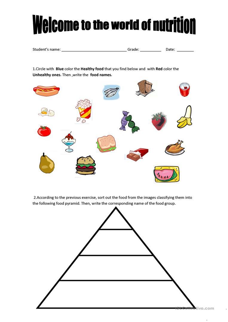 Food Pyramid - Healthy And Unhealthy Food. Worksheet - Free Esl | Free Printable Nutrition Worksheets
