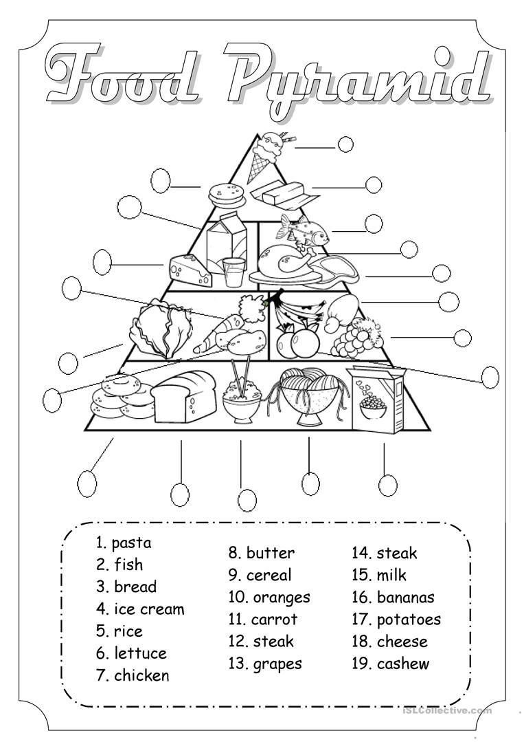 Food Pyramid Worksheet - Free Esl Printable Worksheets Made | Free Printable Nutrition Worksheets