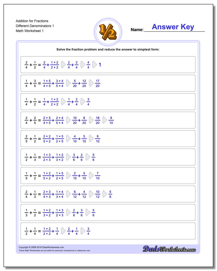 Fraction Addition   Free Printable 4Th Grade Math Fraction Worksheets
