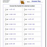 Fractions As Decimals | Fractions To Decimal Worksheets Printable