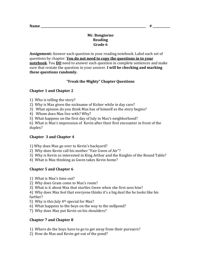 "Freak The Mighty"" Chapter Questions 