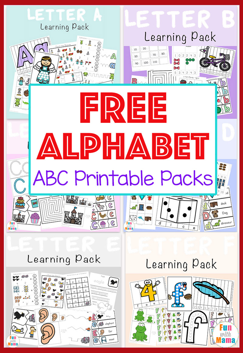 Free Alphabet Abc Printable Packs - Fun With Mama | Printable Abc Letters Worksheets