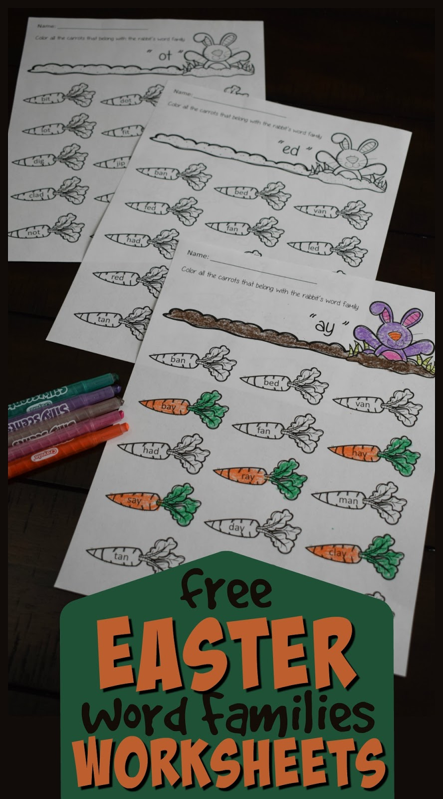 Free Easter Word Families Worksheets – Kindergarten Worksheets And Games | Free Printable Ay Word Family Worksheets