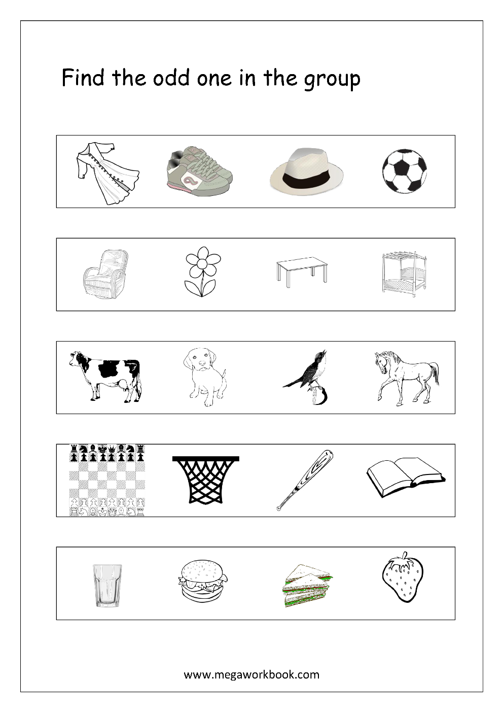 Free General Aptitude Worksheets - Odd One Out - Megaworkbook | Free Printable Worksheets For Kids Science