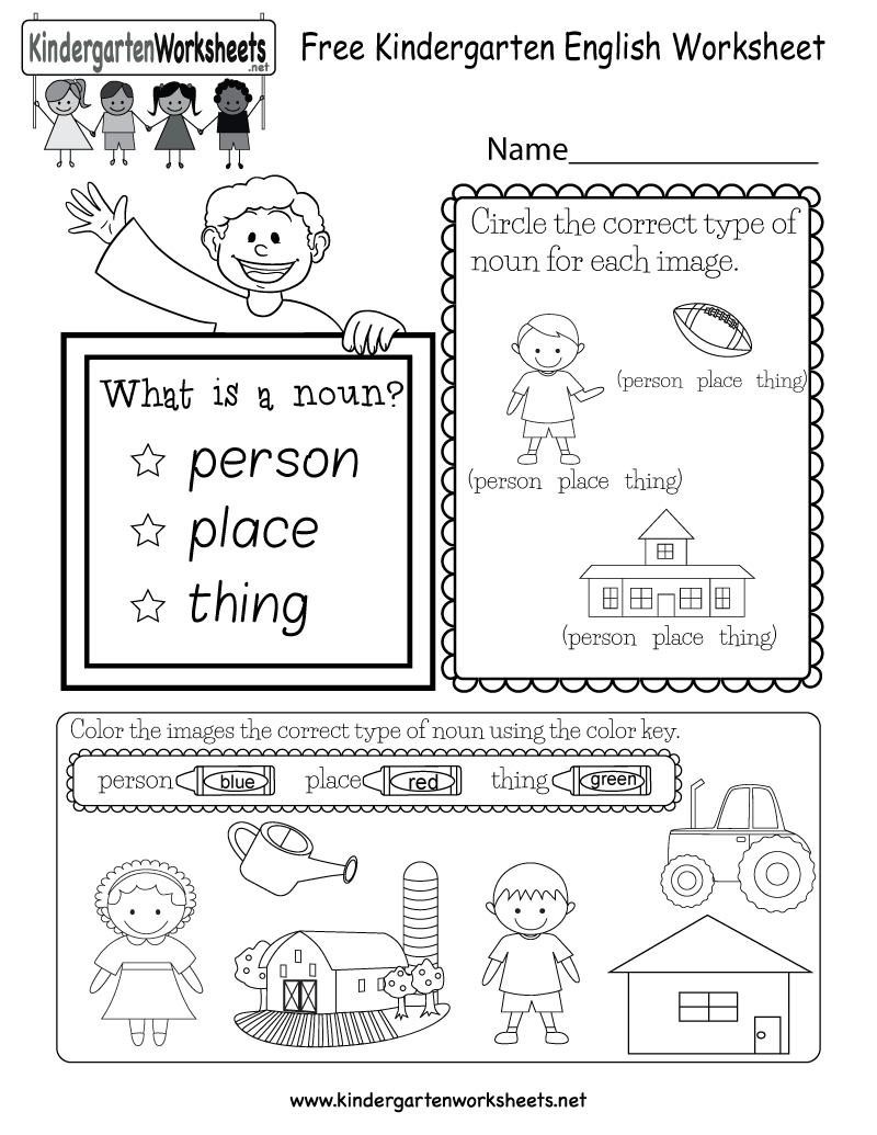 Free Kindergarten English Worksheet | English Worksheets Printables