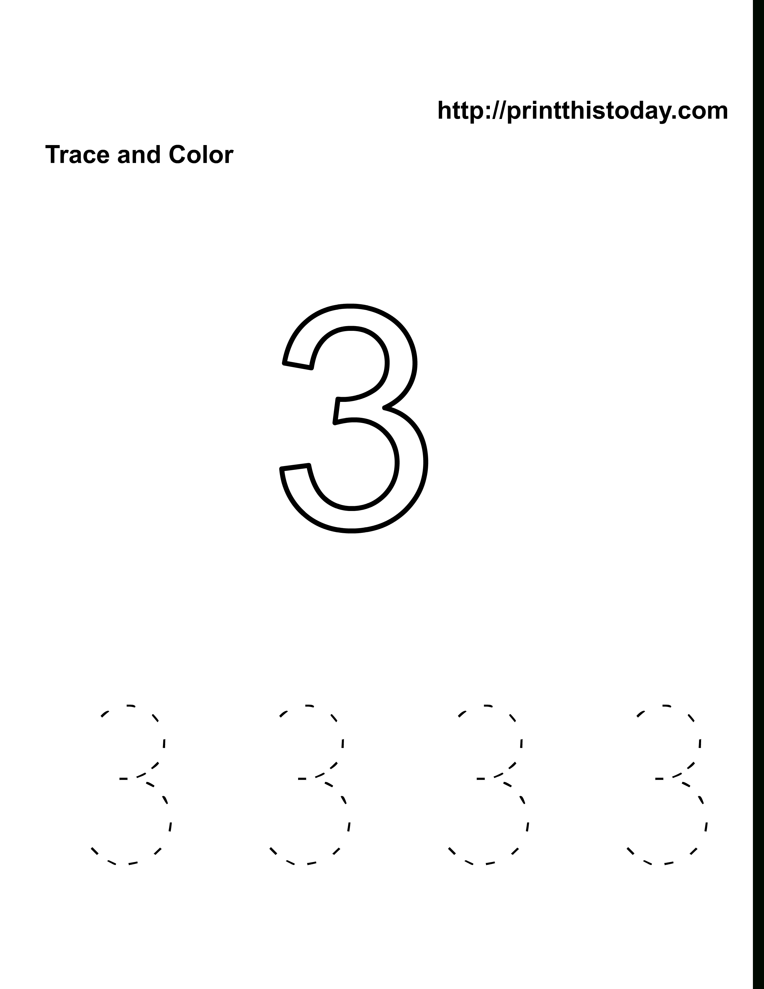 Free Kindergarten Math Worksheets (Number Three, 3) | Free Printable Number 3 Worksheets