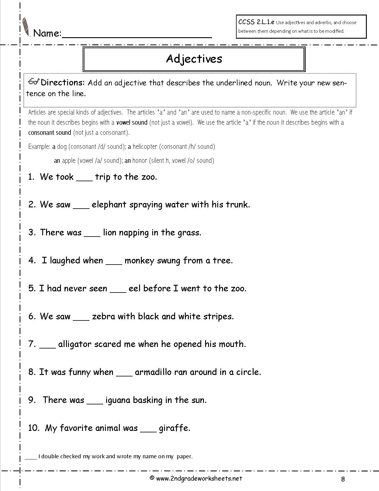 Free Language/grammar Worksheets And Printouts | Second Grade Printable Worksheets