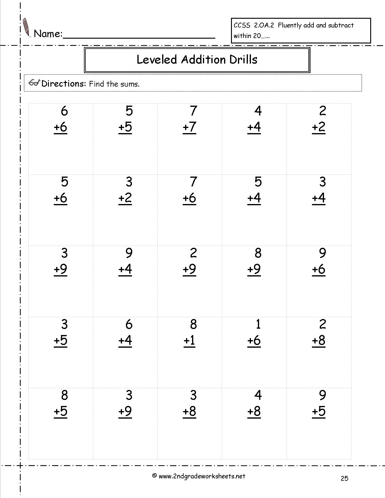 Free Math Worksheets And Printouts | Free Printable Second Grade Worksheets